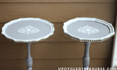 Have plant stands that aren't in the best shape? Check out these detailed updated DIY stenciled plant stands! UpcycledTreasures.com