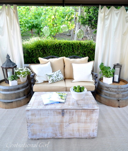 Are you looking for a rustic vibe to ad to your space? Check out some of these great ideas for decorating with Wood Barrels. barrel tables