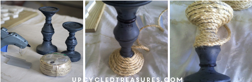 Looking for something to make for your home? Check out how easy it is to make a DIY wood sign and rope candle holders! UpcycledTreasures.com