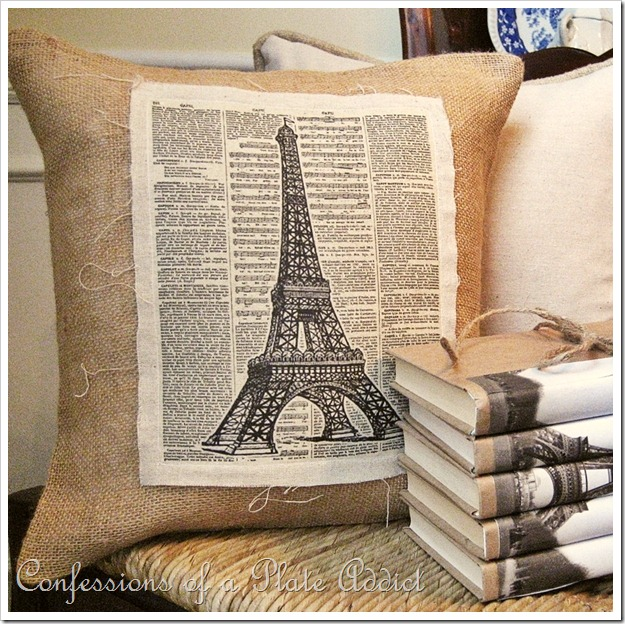 Linen & Burlap Vintage Eiffel Tower Pillow   Confessions of a Plate Addict