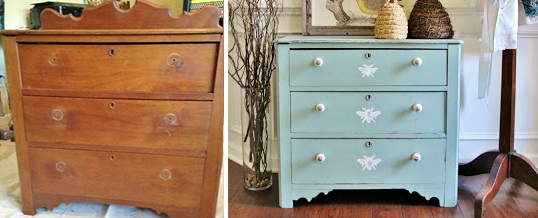 before and after painted dresser