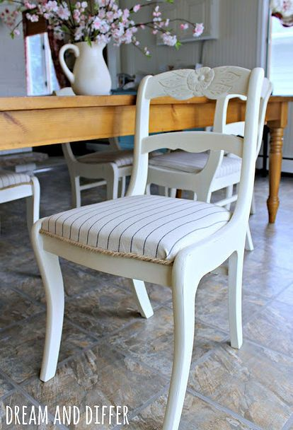 coastal cottage dining chair makeover from Dream and Differ