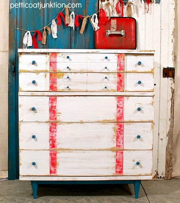 Nautical style dresser makeover from Petticoat Junktion