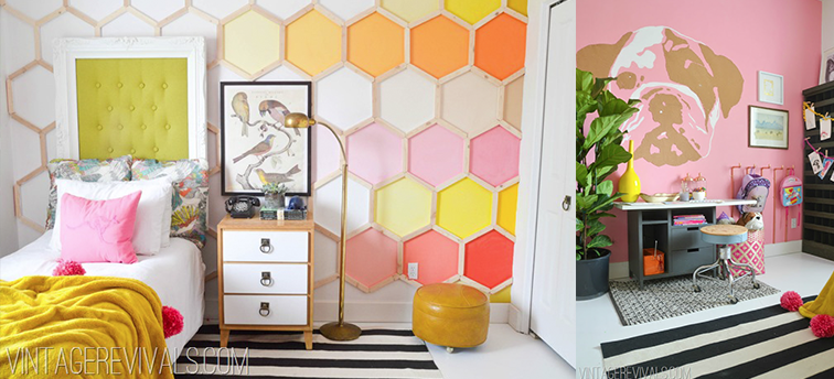 7 Inspiring Summer Spaces bedroom-makeover-diy-hexagon-wall