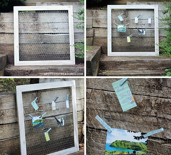 diy chicken wire photo memo board mountainmodernlife.com