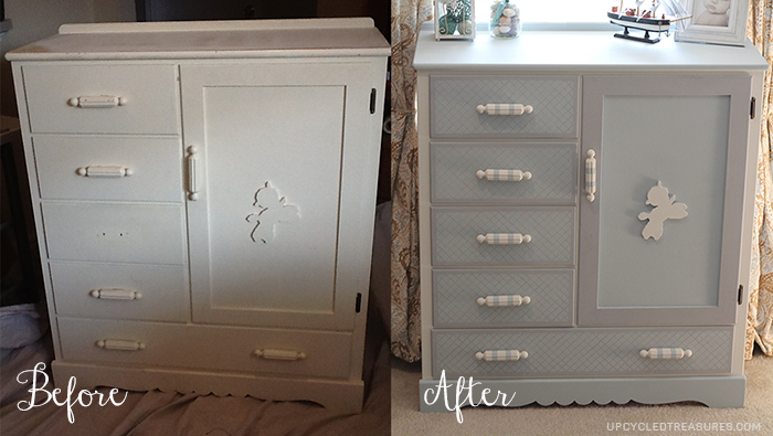 Dresser makeover with a hidden chalkboard - Before and after old dressers makeover with a little paint ...