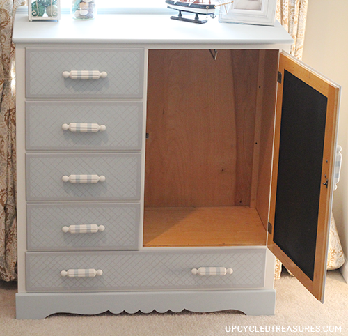 Have an old dresser you don't know what to do with? Check out this vintage kids dresser makeover with a hidden chalkboard inside! UpcycledTreasures.com