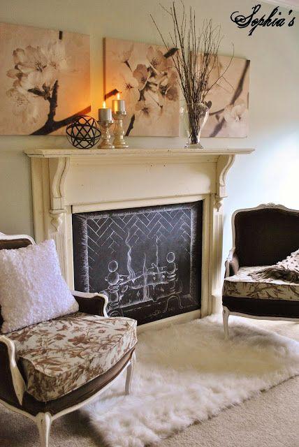 Faux Chalkboard Fireplace via Sophia's