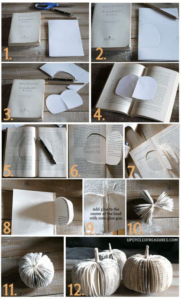 diy home decor book diy paper book pumpkins upcycled treasures 10728