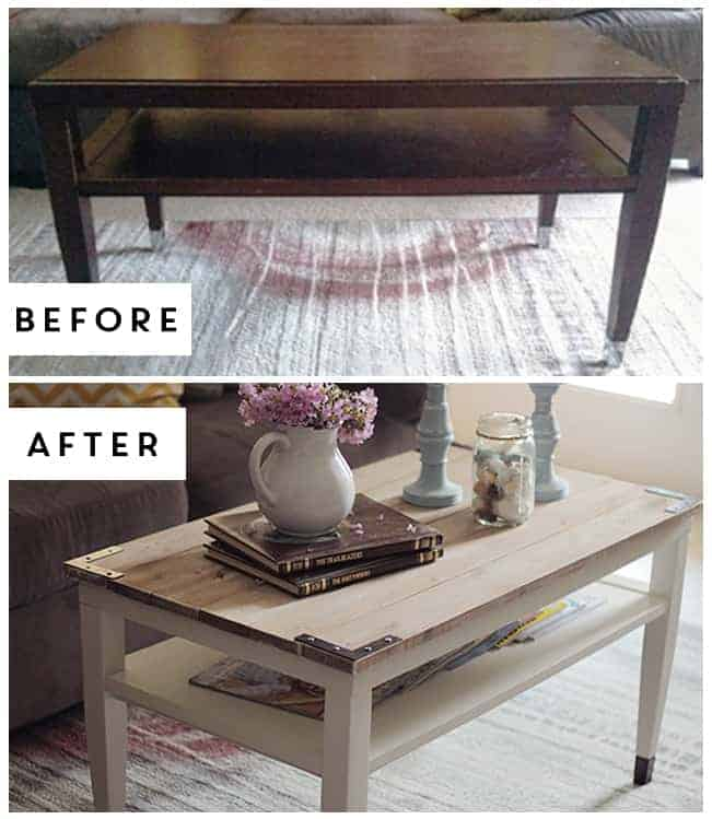 Diy Planked Farm Style Coffee Table Upcycled Treasures