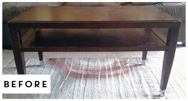 See how this worn out, thrifted find was transformed into a DIY Farmhouse Style Coffee Table for around $15.   MountainModernLife.com