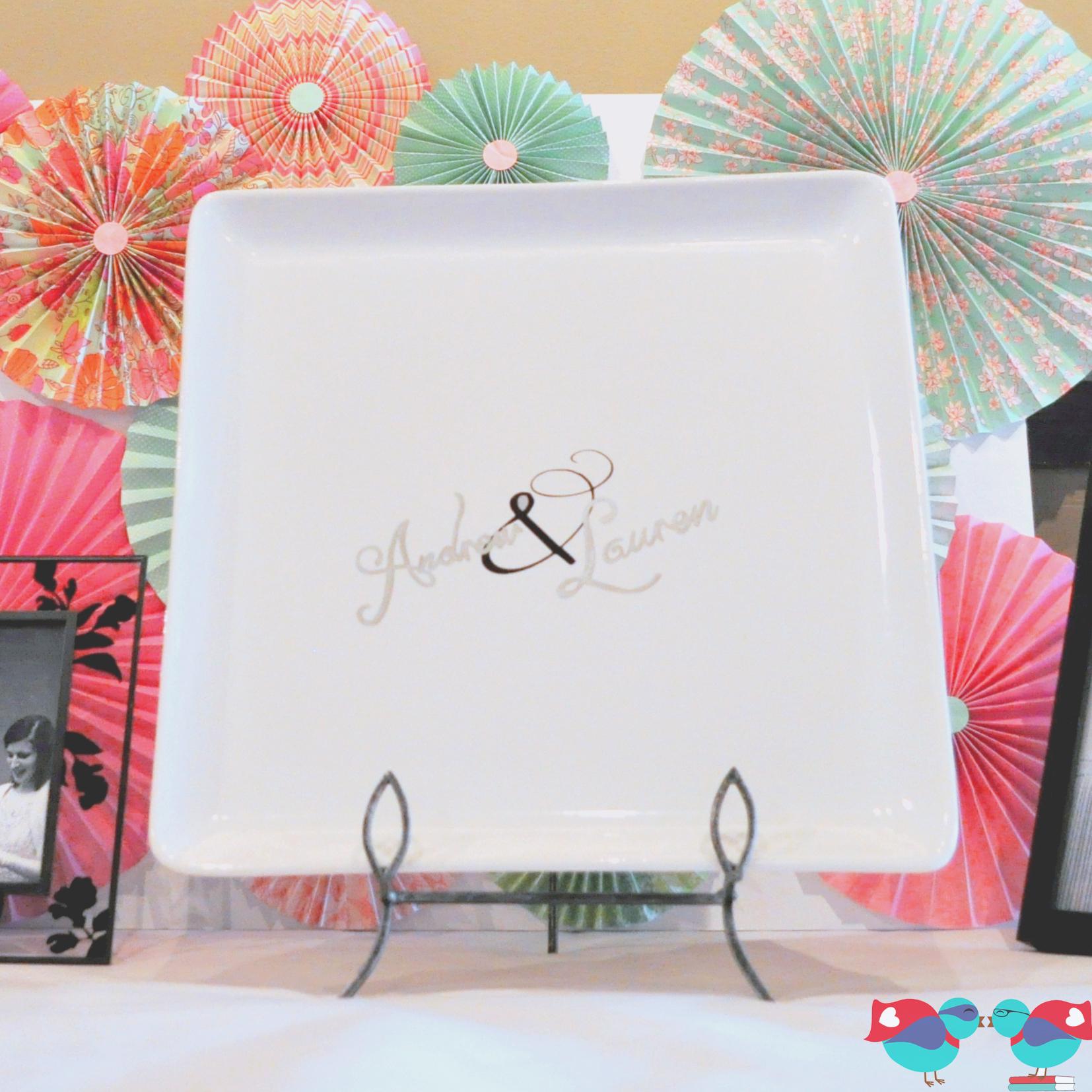 DIY Wedding Guest Book Plate via The Love Nerds