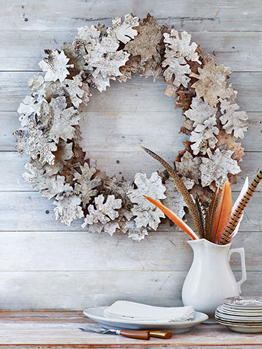 Birch Bark Leaf Wreath via Country Living