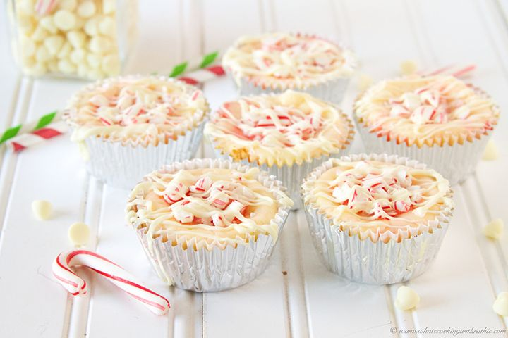 Candy Cane White Chocolate Mini Cheesecakes via What's Cooking with Ruthie