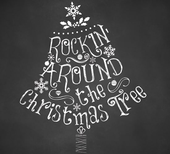 Chalkboard Christmas Printable Rockin Around the Christmas Tree. mountainmodernlife.com