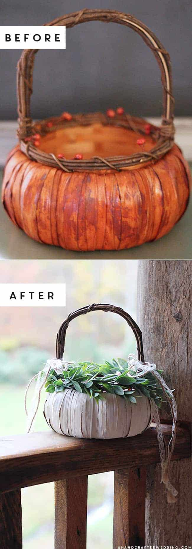 Planning a fall wedding? Add a whimsical touch with this DIY pumpkin flower girl basket! MountainModernLife.com