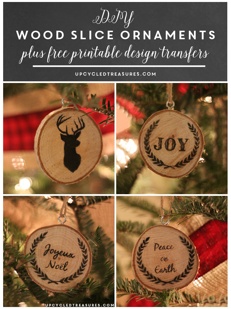 Diy wood slice christmas ornaments upcycled treasures for How to transfer design to wood
