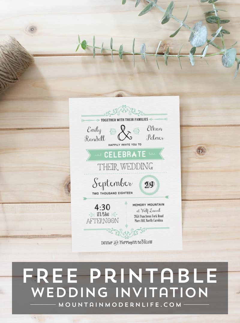 FREE Wedding Invitation Template  MountainModernLife.com