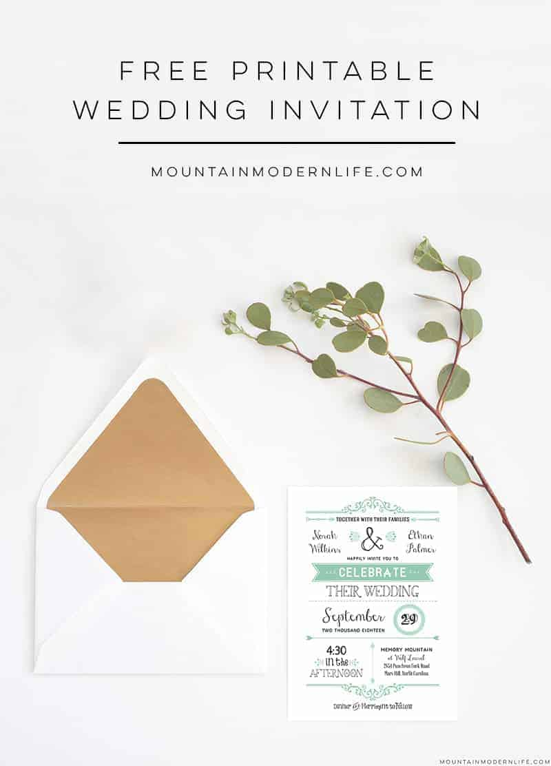 FREE Printable Rustic Wedding Invitation | MountainModernLife.com
