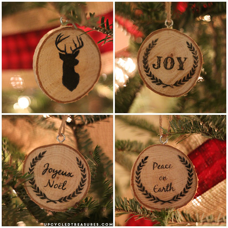 How to make wood slice christmas ornaments upcycledtreasures.com
