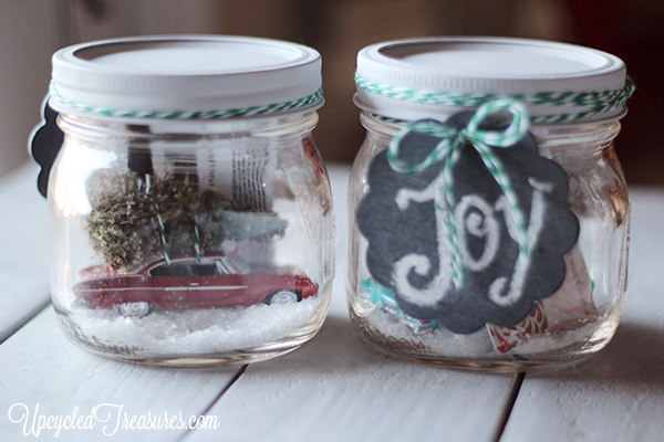 DIY Mason Jar Snow Globes! How to make waterless mason jar snow globes, including a creative and whimsical way to give gift cards! UpcycledTreasures.com