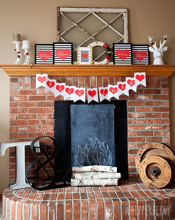 20 Valentine Craft Ideas that you can do last minute | Valentine Mantel Decor with FREE Printables | Whipperberry