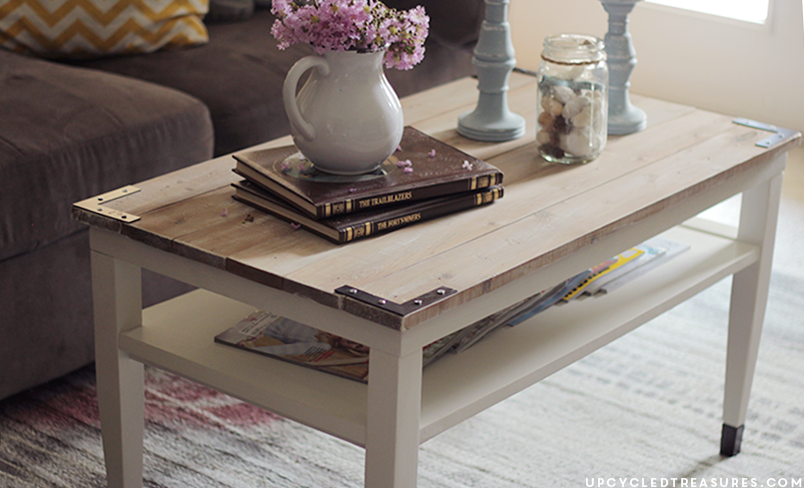 See how this worn out, thrifted find was transformed into a DIY Farmhouse Style Coffee Table for around $15. | MountainModernLife.com