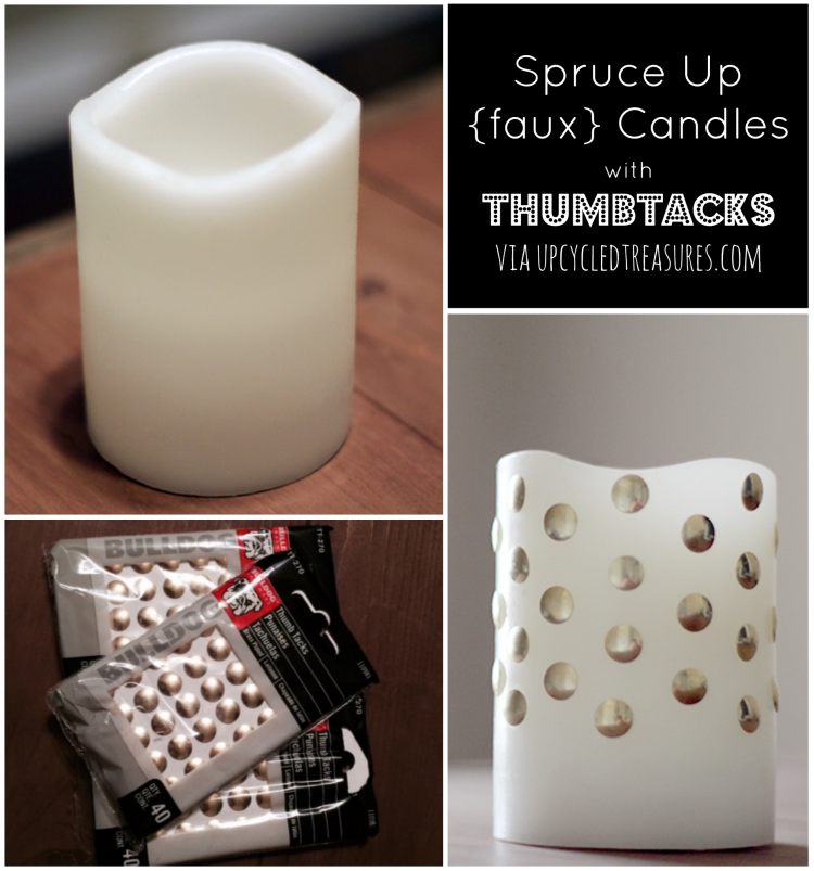 Spruce up {faux} Candles with Thumbtacks! Gussy up those plain white LED candles you have sitting around using brass thumbtacks! UpcycledTreasures.com