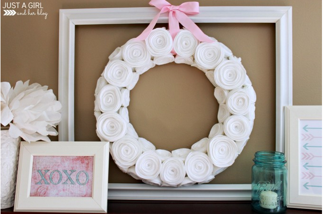 20 Last Minute Valentine Craft Ideas | Pink & Aqua Valentines Shelf Decor | Just a Girl and her Blog