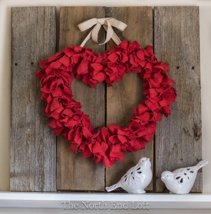 20 Last Minute Valentine Craft Ideas | DIY Valentine Rag Wreath | The Northend Loft