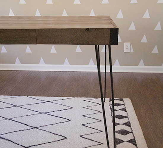 diy rustic industrial desk hairpin legs in office mountainmodernlife.com