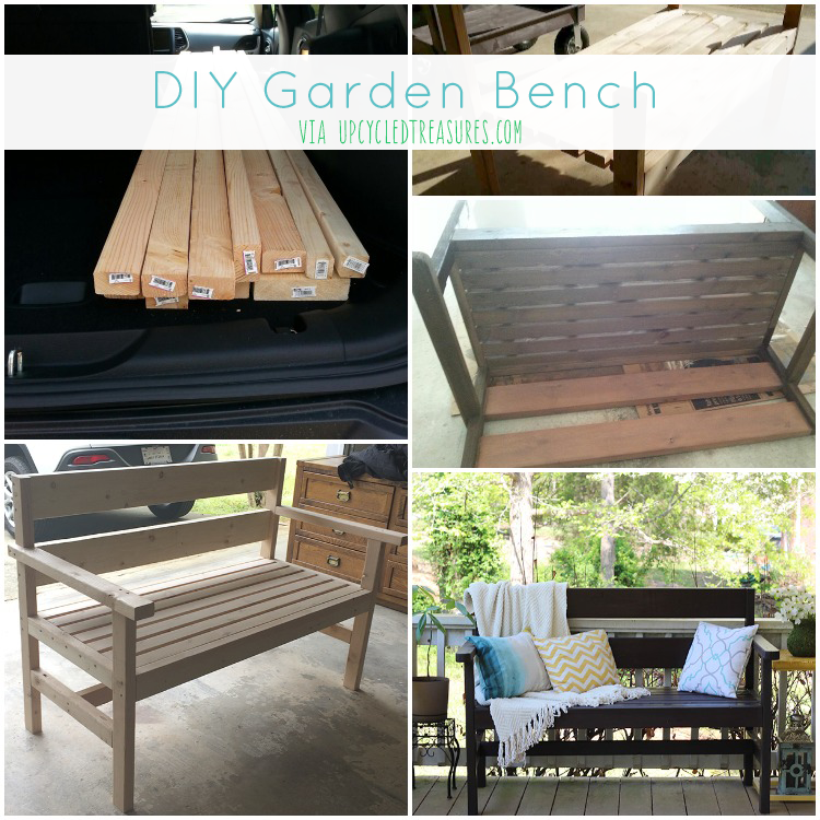 Build this DIY Garden Bench. See the bench we built using Ana White's plans as a guideline plus more placemat pillows! UpcycledTreasures.com
