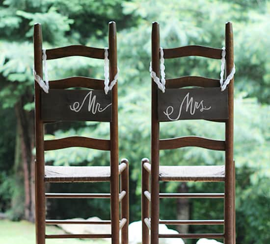 diy rustic wedding chair signs mountainmodernlife.com