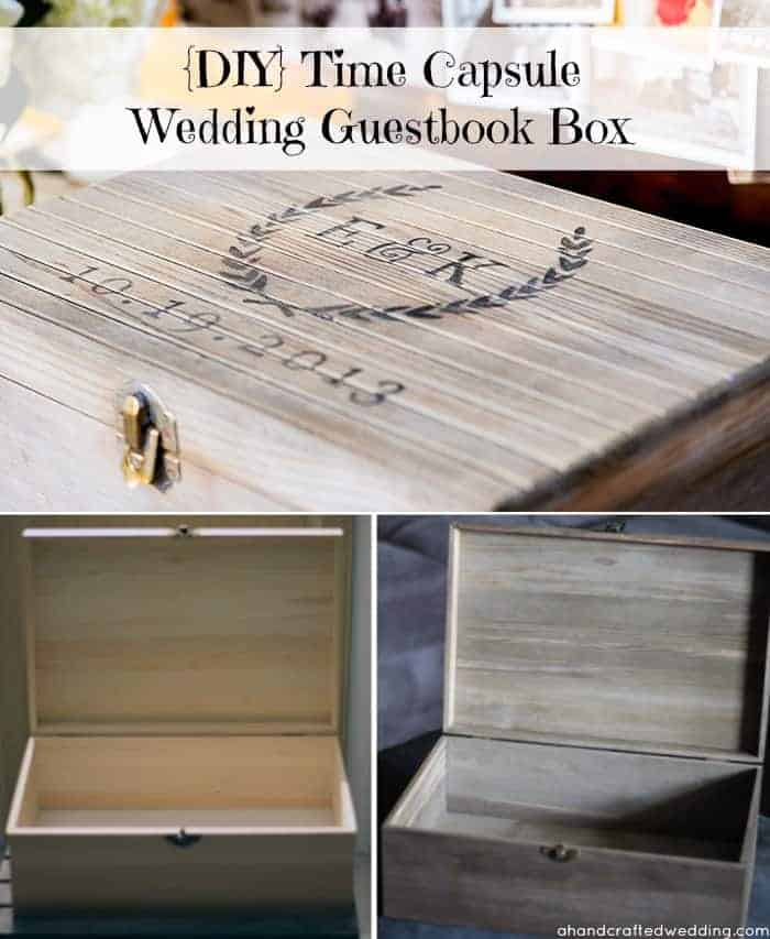 DIY Time Capsule Wedding Guestbook. Have your guests write notes on postcards then place in time capsule to be opened later. MountainModernLife.com