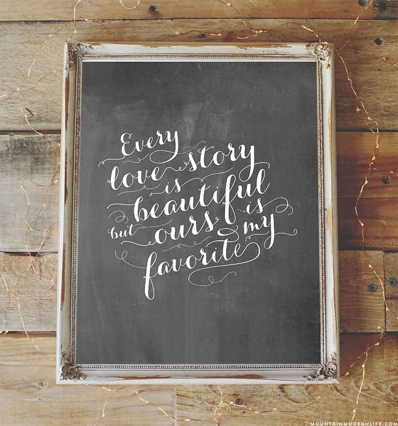 Download and print this FREE Chalkboard Love Quote Printable that you can display during your wedding or in your home. MountainModernLife.com
