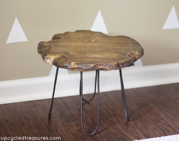 DIY Hairpin Style Legs on Rustic Stool | MountainModernLife com
