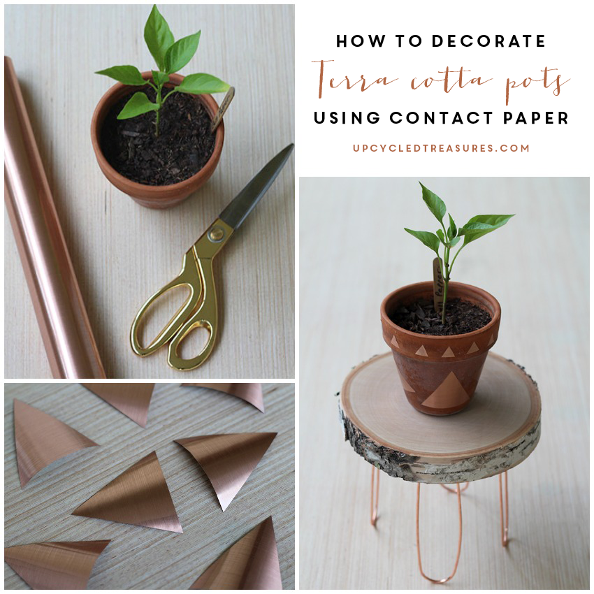 decorate terra cotta pots using contact paper