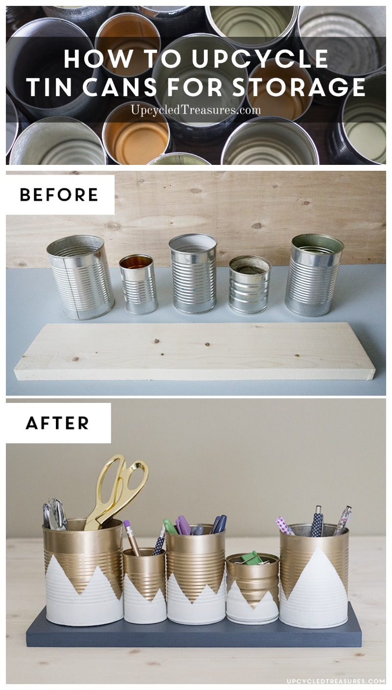 Need something cute to organize desk space, but don't have a huge budget? Check out this Upcycled Tin Can Organizer! UpcycledTreasures.com