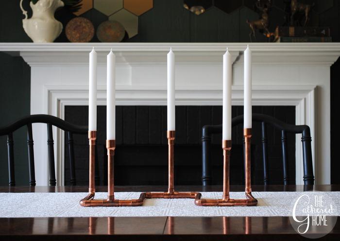 diy copper pipe candelabra - thegatheredhome