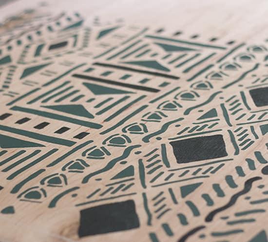 diy plywood art using tribal stencil mountainmodernlife.com
