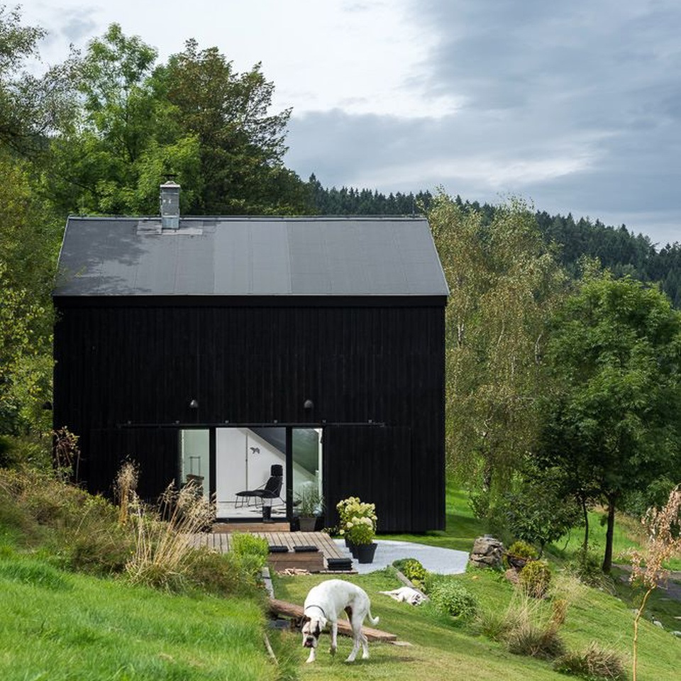 Modern rustic homes with black exteriors mountain modern for Modern barn design