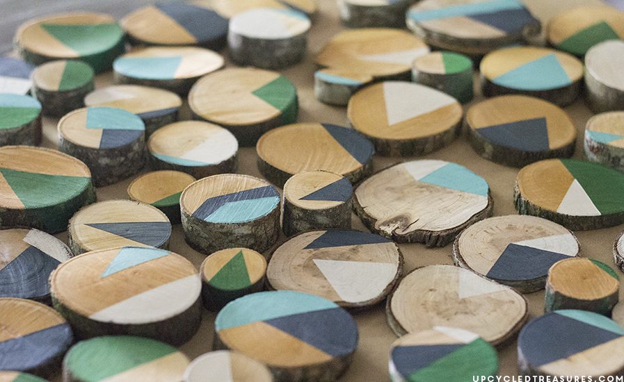 painted-modern-rustic-wood-slices-for-art-upcycledtreasures