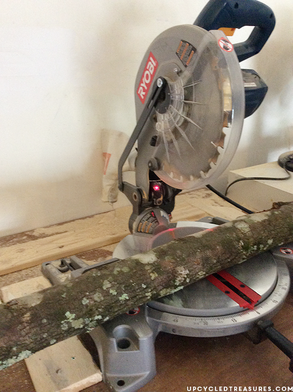 using-ryobi-miter-saw-to-cut-fallen-branches-upcycledtreasures