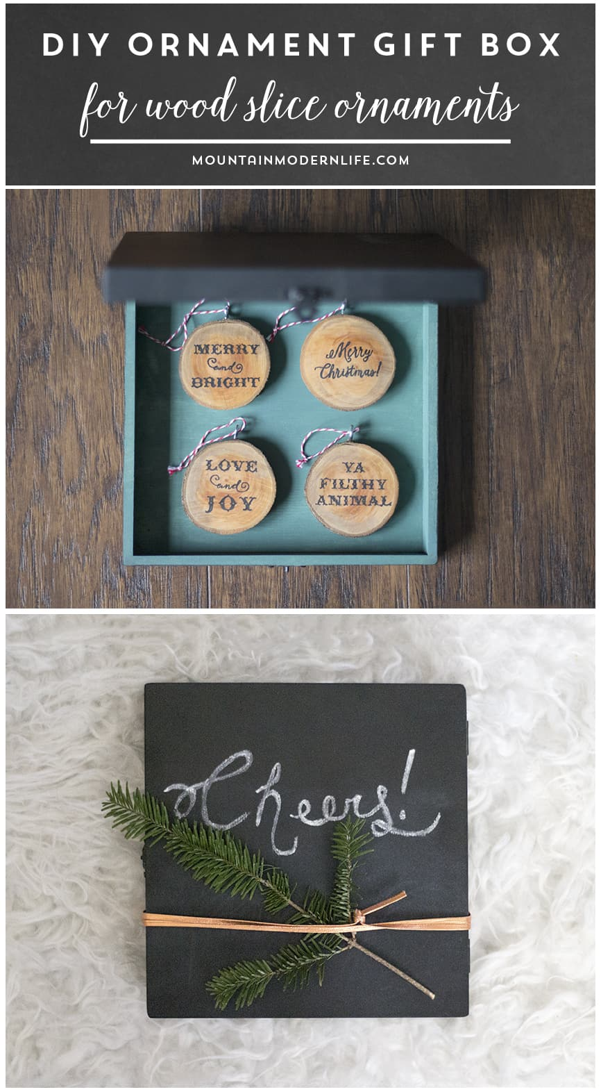 Looking for creative and affordable Christmas gift ideas? Why not create rustic ornaments and give them away in a custom DIY ornament gift box? MountainModernLife.com
