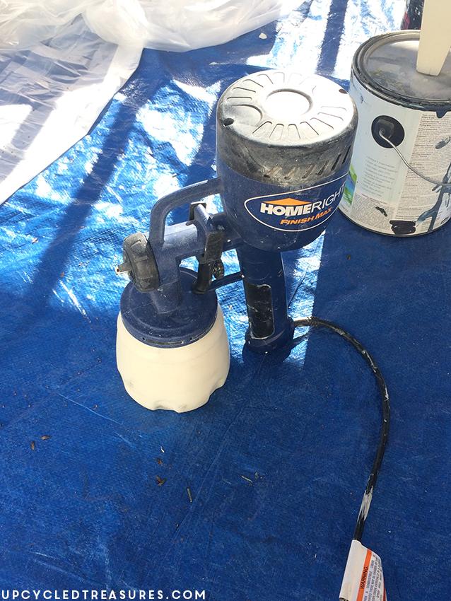using-Homeright-finish-max-sprayer-to-paint-mid-century-armoire-upcycledtreasures