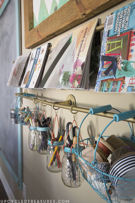 diy gold pipe storage system in creative workspace craft room - upcycledtreasures