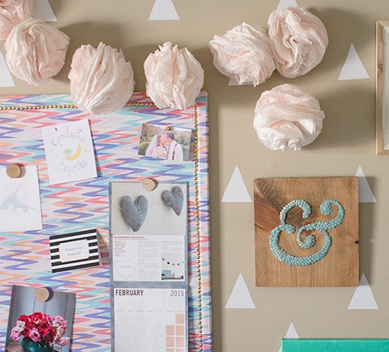 diy coffee filter garland on wall mountainmodernlife.com