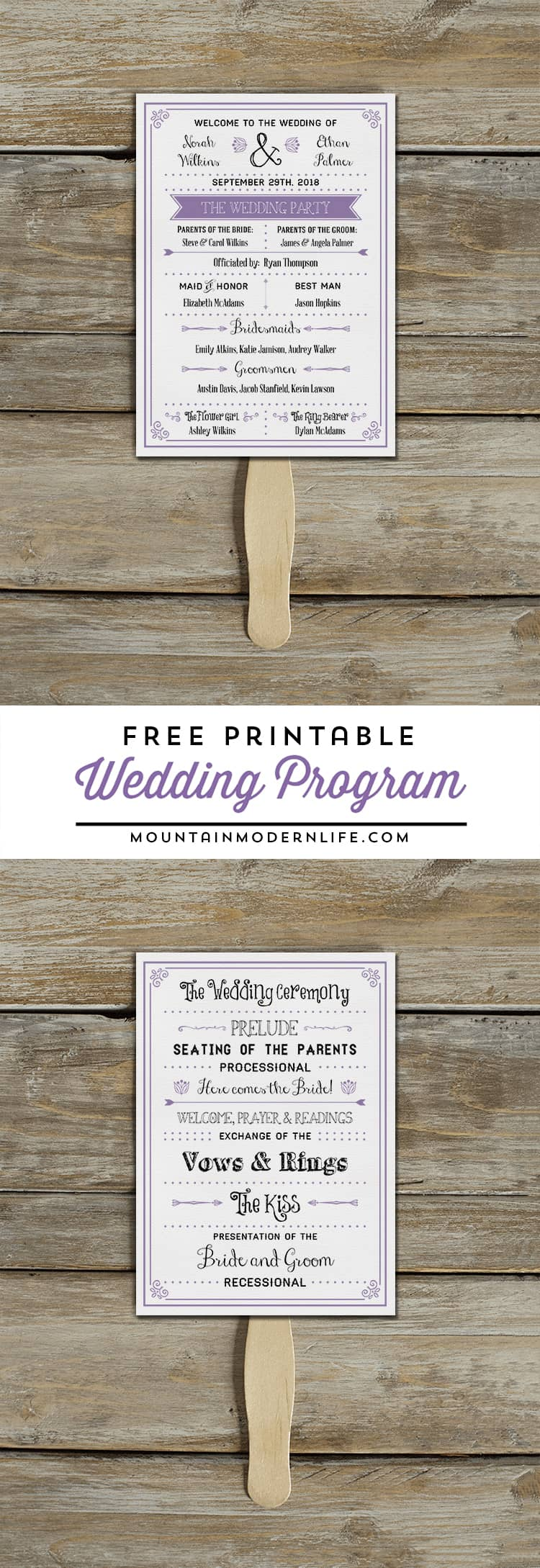 Planning a rustic or vintage-inspired wedding? Download this FREE Printable Wedding Program that doubles as a fan! MountainModernLife.com