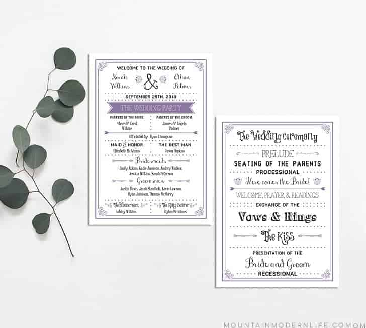 FREE Printable Wedding Program