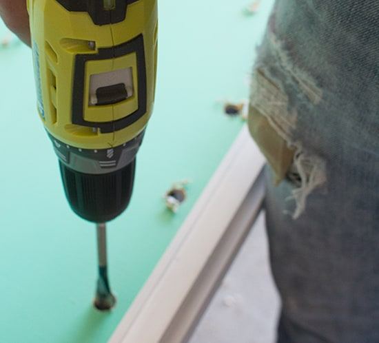 using ryobi drill to make marquee wood sign mountainmodernlife.com